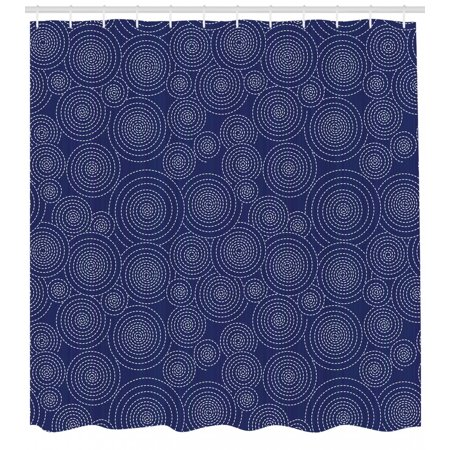 Geometric Shower Curtain, Repeating Spirals Formed by Dashed Lines Japanese Sashiko Quilting Pattern, Fabric Bathroom Set with Hooks, 69W X 70L Inches, Indigo White, by Ambesonne (Japanese Fabric Patterns)