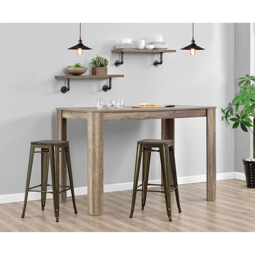 """DHP Fusion 30"""" Metal Backless Bar Stool with Wood Seat, Set of 2, Multiple Colors"""