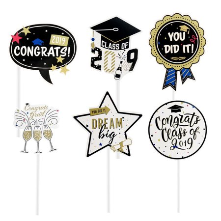 KABOER 2019 Graduation Cupcake Toppers Food/Appetizer Picks For Graduation Party Mini Cake Decorations 24 - Graduation Cap Cake Topper