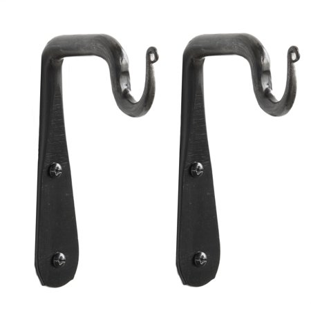Wallniture Set of 2  Hand Forged Straight Wrought Iron Hanging Coat Hook Hanger Wall Mounted Rustic Vintage Style Bracket …