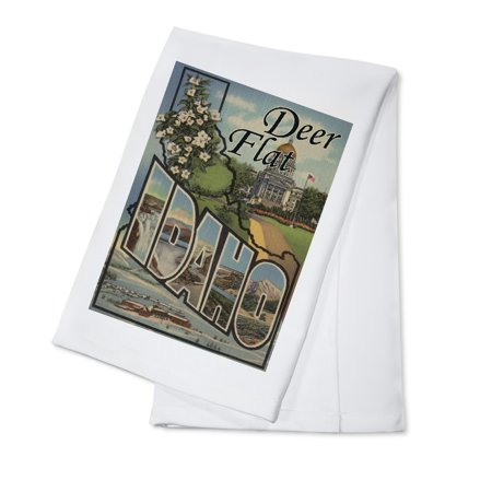 - Deer Flat, Idaho - Large Letter Scenes (100% Cotton Kitchen Towel)