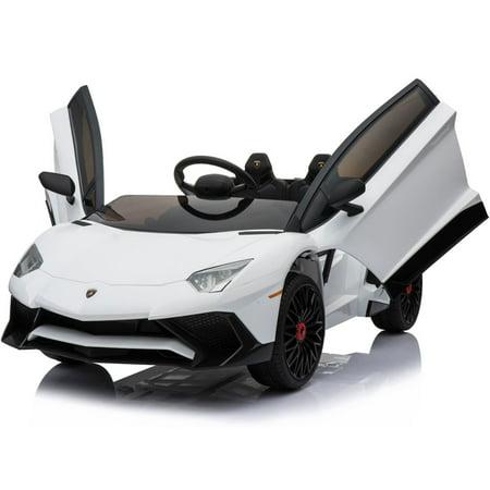 - Mini Moto Lamborghini 12v White  - Driving Choice: Manual Drive or Remote Control), Kids Electric Ride On Car - White