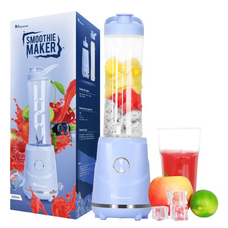 MYONAZ Portable Blender 600ML Electric Power Mixer with Travel Sport Bottle & Lid 120V Blender for Smoothies and Shakes (Blue)