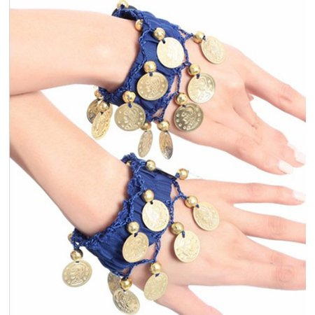BellyLady Belly Dance Wrist Ankle Cuffs Bracelets, Halloween Costume Accessory-Navy Blue](Halloween Kandi Bracelets)