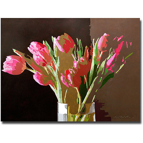 "Trademark Art ""Pink Tulips In Glass"" Canvas Wall Art by David Lloyd Glover"