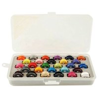 Bobbin Box Organizer with 28 Bobbins Threaded with Assorted Color Thread   Item 1464