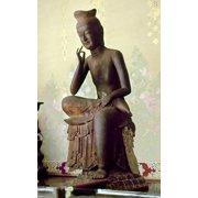 Japan Buddha C606 AD Nred Pine Wood Statue Of Buddha Of The Future Called Miroku Bosatsu Or Maitreya At Koryu-Ji Kyoto Japanese C606 AD Rolled Canvas Art -  (24 x 36)