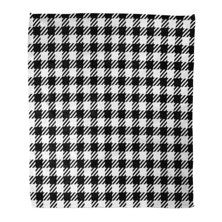 ASHLEIGH Flannel Throw Blanket Checker Abstract Check Tweed White and Black Imitation Cashmere Soft for Bed Sofa and Couch 58x80 Inches