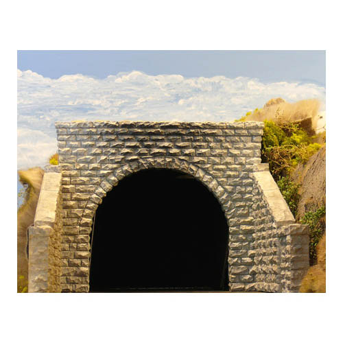 HO Double Cut Stone Tunnel Portal Multi-Colored