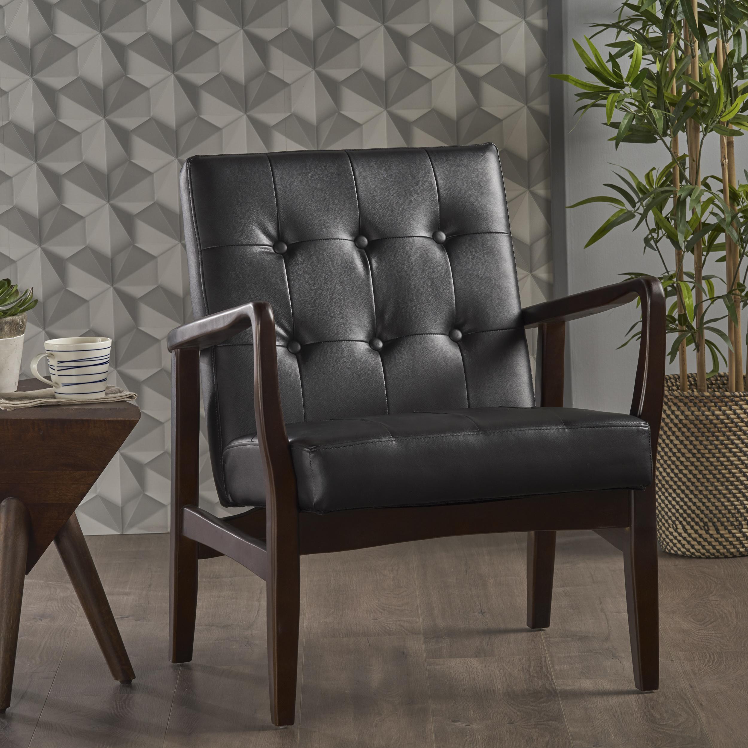 Noble House Everett Mid Century Modern Leather Club Chair, Black, Dark Espresso