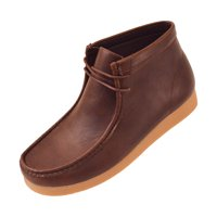 Amali Men's Faux Leather High Top Lace-up Casual Boots Crepe Rubber Like Sole