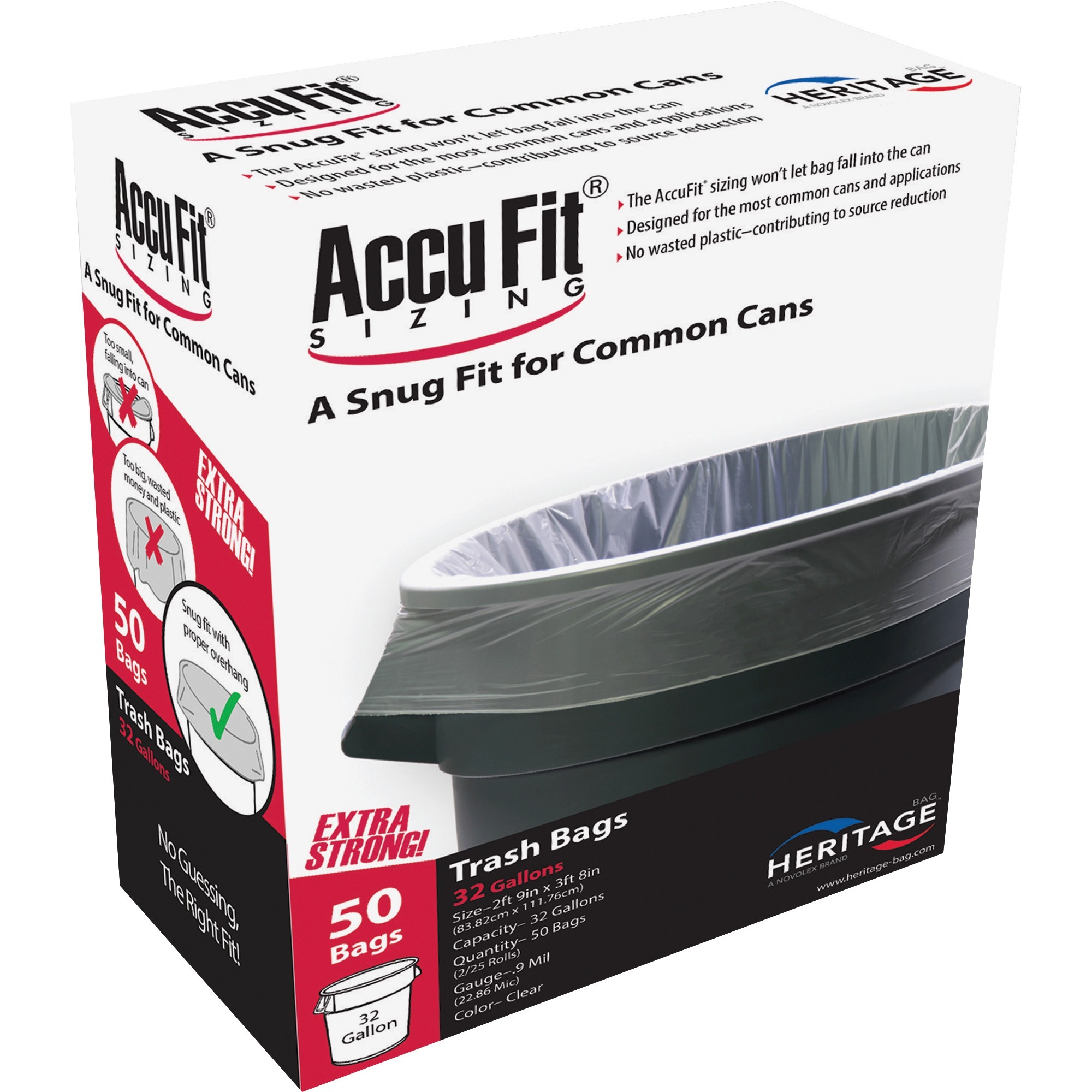 Heritage, HERH6644TCRC1, Accufit Reprime 32 Gallon Can Liners, 50 / Box, Clear, 32 gal