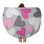 NUDECOR 60 inch Round Beach Towel Blanket Adorable Hearts Love Book Creative Cute Day Drawing Girlie Travel Circle Circular Towels Mat Tapestry Beach Throw