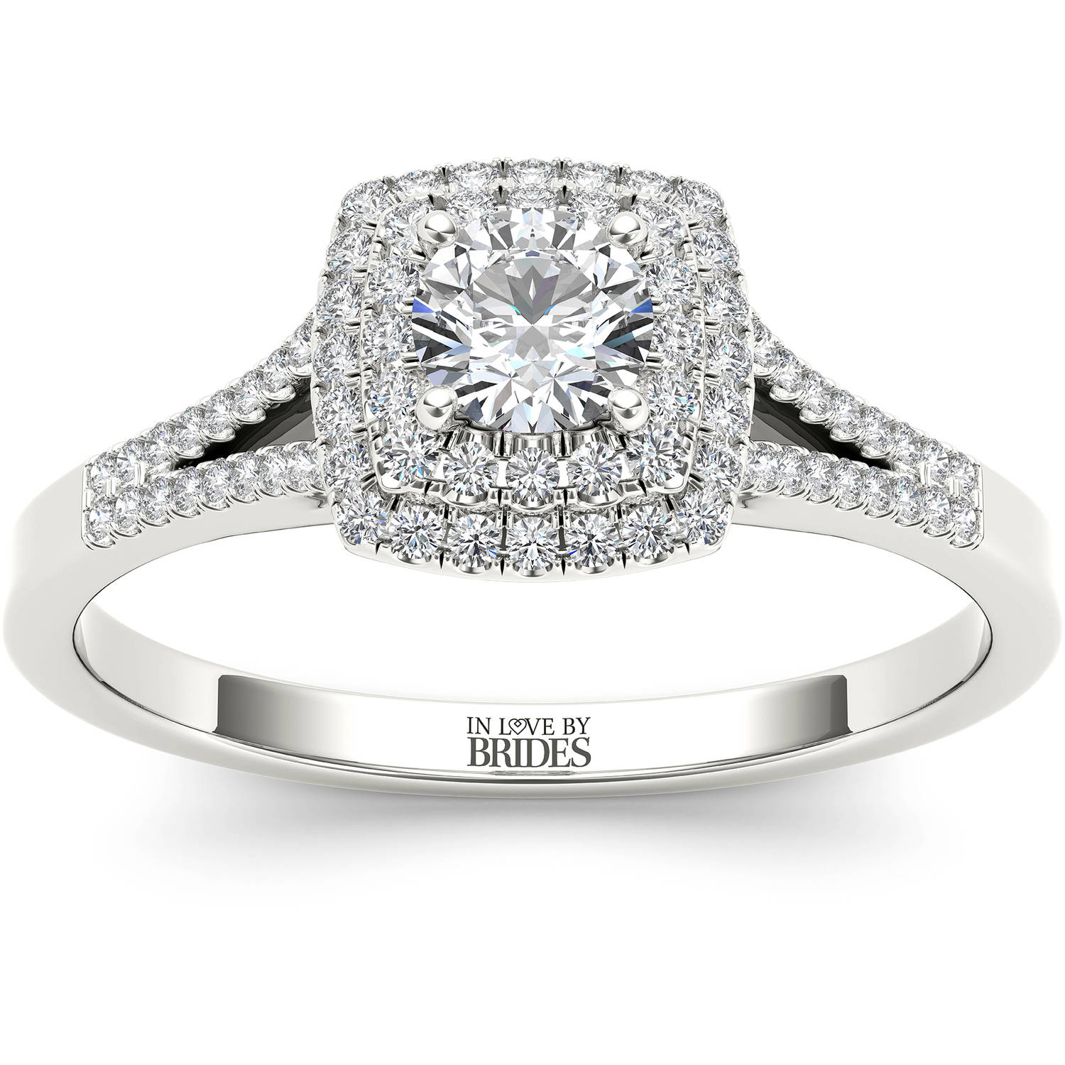 IN LOVE BY BRIDES 1/2 Carat T.W. Certified Diamond Double Halo 14kt White Gold Engagement Ring