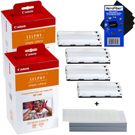 Canon RP-108 High-Capacity Color Ink/Paper Set includes 216 Ink Paper Sheets + 4 Ink Toners for SELPHY CP1300, CP1200, CP1000, CP910 & CP820 Printers + HeroFiber Ultra Gentle Cleaning Cloth