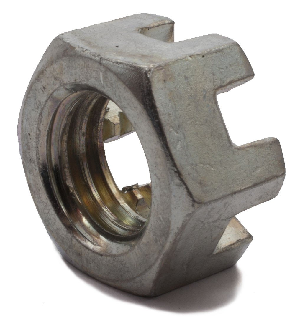 1 1/4-12 Slotted Hex Nut Zinc