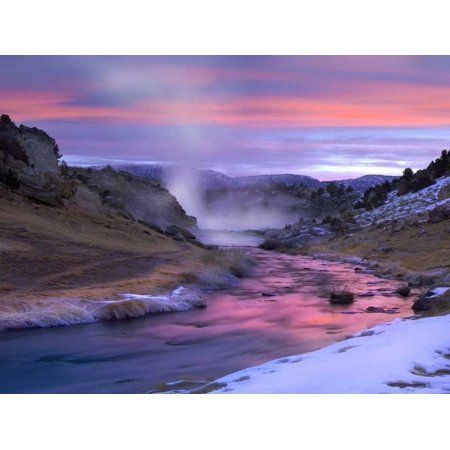 Hot Creek at sunset natural hot spring in Mammoth Lakes region eastern Sierra Nevada California Poster Print by Tim Fitzharris