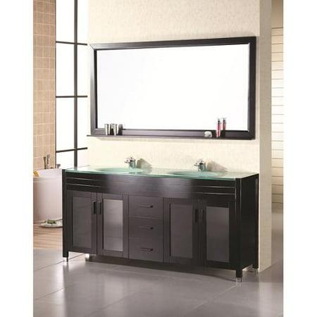 Design element double sink 71 5 inch waterfall faucet for Design element marcos solid wood double sink bathroom vanity