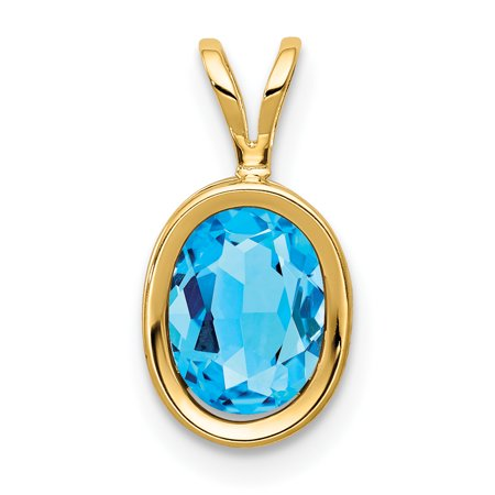 14k Yellow Gold 8x6mm Oval Blue Topaz Bezel Pendant Charm Necklace Gemstone Gifts For Women For Her