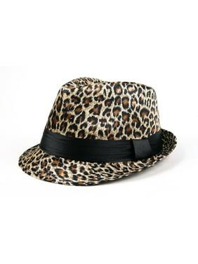 Women Fashion Leopard Print Fedora Hat 504HF (Gold)
