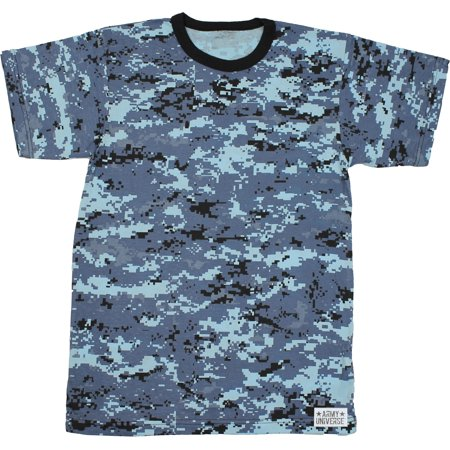 Sky Blue Digital Camouflage Short Sleeve T-Shirt with ARMY UNIVERSE Pin -  Size Large (41