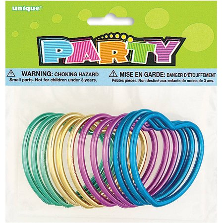 Plastic Metallic Heart Bracelet Party Favors, Assorted 12ct