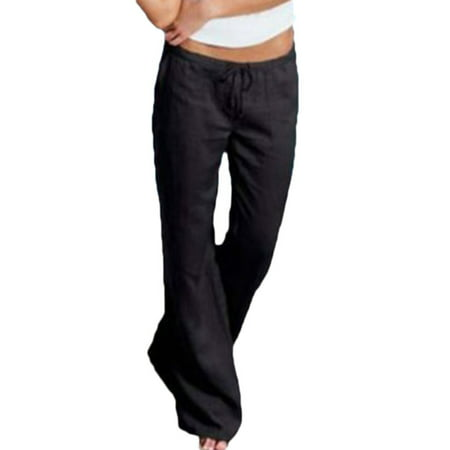 Black Straight Leg Trousers - Women Sport Gym Linen Trouser Casual Wide Leg Pants Loose Casual Long Trousers