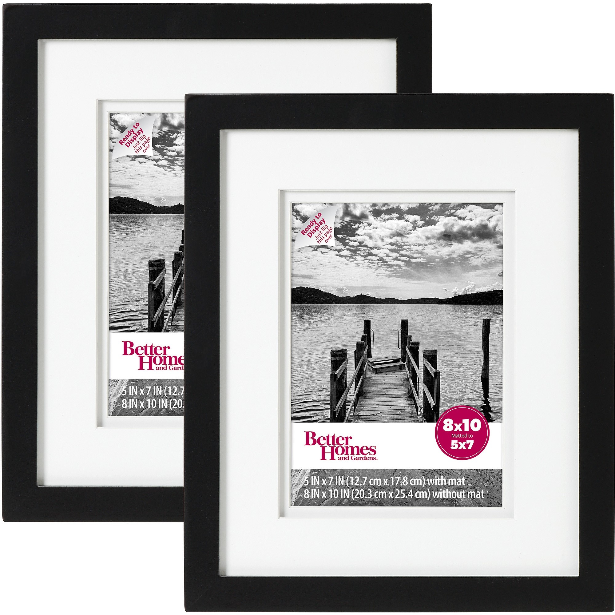 "Better Homes & Gardens Picture Frame Black, Set of 2, 8""x10"""