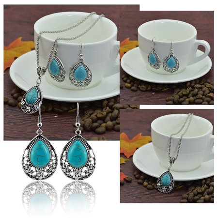 Women Girls Jewelry Ethnic Bohemian Drip Turquoise Pendant Necklace with Flower Trim + Earrings Eardrop Ear Studs Set - image 3 of 8