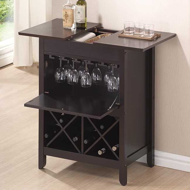 Baxton Studio Agaue Modern and Contemporary Dark Brown Wood Dry Bar and Wine Cabinet by Overstock