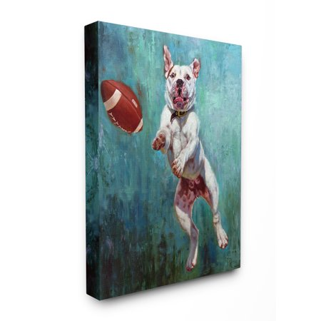 Stupell Bull Dog Playing Football Airborn Funny Canvas Art, 24 x 30