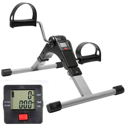 Portable Dual Exercise Bike,Folding Fitness Pedal Exerciser Stationary Exercise Bike Hand Leg Rehabilitation, Indoor Mini Exercise Bike Leg Arm Trainer with Electronic Display