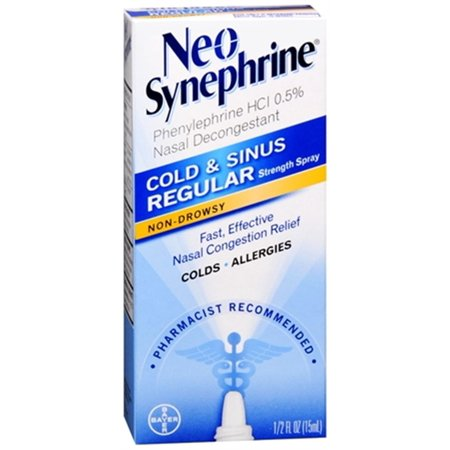 4 Pack Neo-Synephrine Nasal Spray Regular Strength Formula  0.5 fl oz (15 mL) Ea