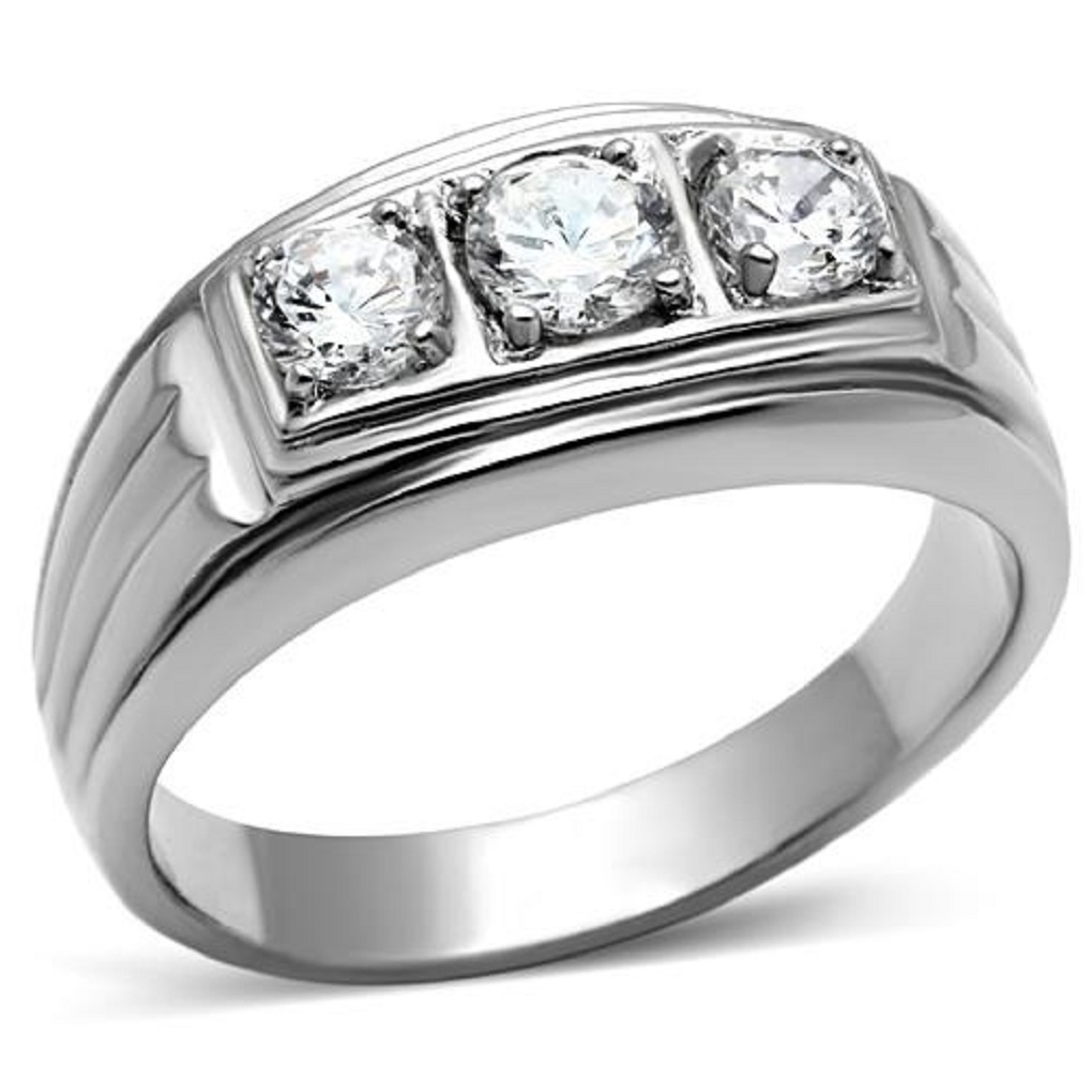New Stainless Steel Men's Triple Cubic Zirconia Wedding Band Ring - Sizes 8-13