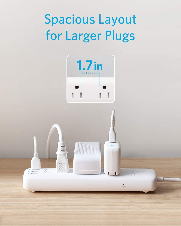 PowerPort Strip 3 w//5ft Extension Cord 3-Outlet/&3 PowerIQ USB Power Strip
