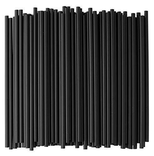 Black Plastic Straws, 7 3/4 Inches, Jumbo Pack 500 Straws