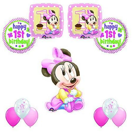 MINNIE MOUSE 1st Birthday Party 11pc Balloon Decoration Kit