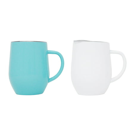 2-Pack Ezprogear 12 oz Coffee Mug Travel Cup Stainless Steel  Double Wall Vacuum Insulated with Slider Lid (White/Aqua)