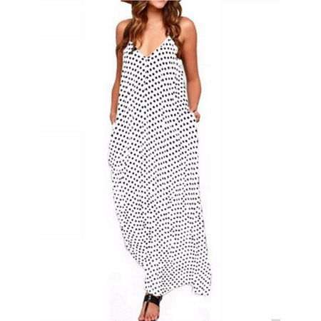 SAYFUT Women's Maternity V-Neck Spaghetti Straps Dot Print Summer Long Maxi Dresses Sundress Plus Size M-5XL