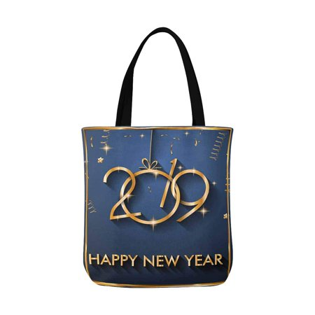ASHLEIGH 2019 Happy New Year Canvas Tote Bags Reusable Shopping Bags Grocery Bags Party Supply Bags for Women Men