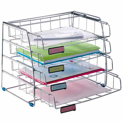 Resistant ALBA 4-Drawer Side Load Letter Tray, Chrome Front