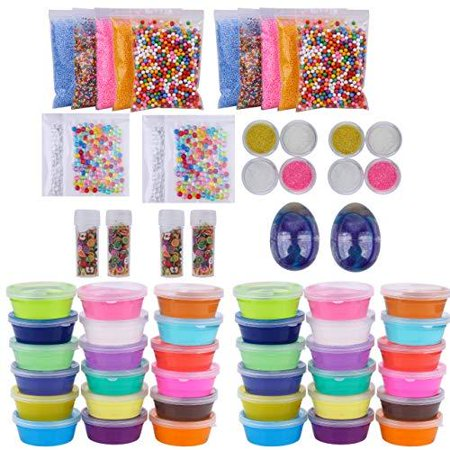 Slime Bulk Party Favors Supplies 36 Pack Ready Slimes Birthday Gifts Craft Kits for Girls Boys  Set Includes Glow Powder, Glitters, Surprise Putty Egg Putty Fruit Slices, Fishbowl Foam