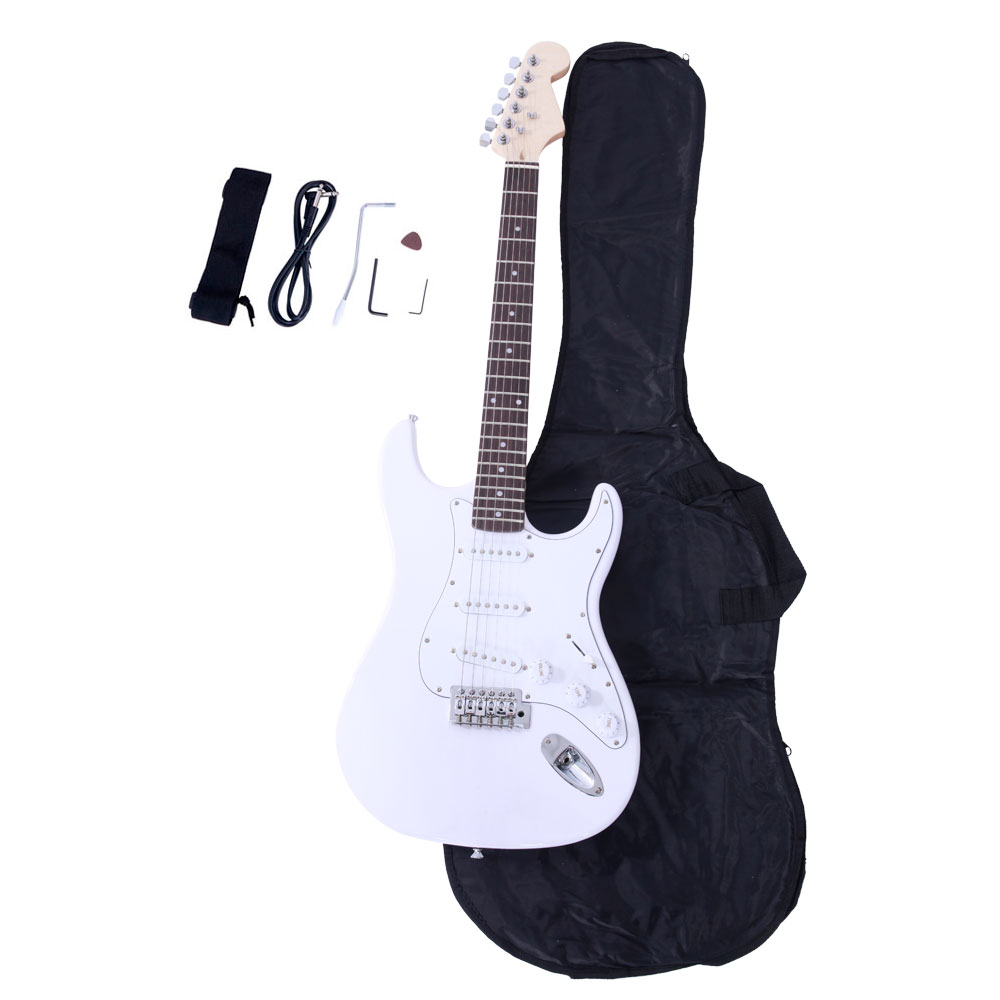 Zimtown Rose Wood Fingerboard Electric Guitar Monochrome + Gigbag + Cord + Strap + Accessor
