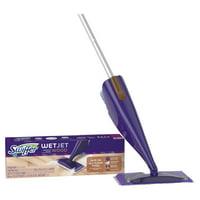 Swiffer WetJet Wood Floor Spray Mop Starter Kit (1 Power Mop, 5 Mopping Pads, 1 Bottle of Floor Cleaner, 4 Batteries)