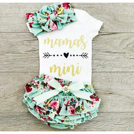 Newborn Baby Girls Summer Clothes Cotton Tops Romper Jumpsuit Floral Tutu Shorts 3Pcs Outfits -