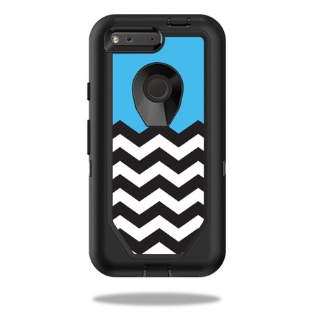 Mightyskins Protective Vinyl Skin Decal For Otterbox Defender Pixel 5  Case Wrap Cover Sticker Skins Baby Blue Chevron