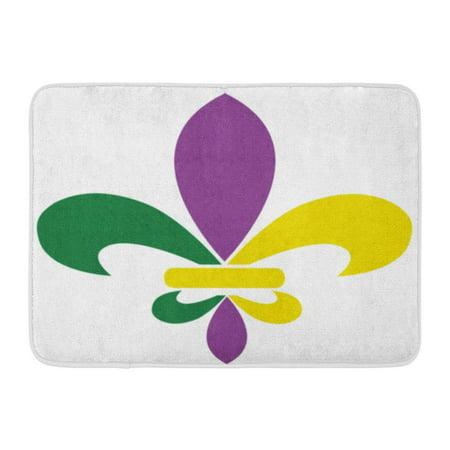 GODPOK Yellow Celebration Green Bead of Mardi Gras Fleur De Lis Purple Carnival Day Rug Doormat Bath Mat 23.6x15.7 inch ()