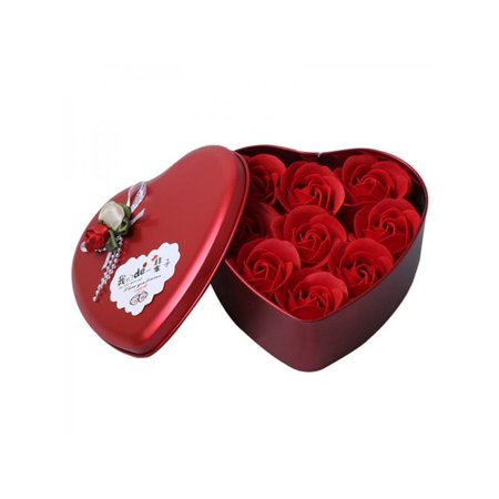Topumt Heart Shaped Rose Flowers Love With Iron Box Artificial Dried Flowers Gift Box for Valentine's Day - Heart Shape Box