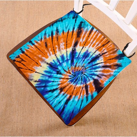 PHFZK Bule Orange Tie Dye Hippie Tapestry Wall Hanging Art for Home,Apartment,Dorms and Office Sets Seat Cushion Chair Cushion Floor Cushion Two Sides Size 16x16 inches