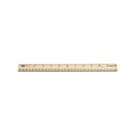 Double Beveled Edge Wood Ruler - Inch And Metric With 3 Hole Punched For Binder, 12 In. L Deep Double Edge Punch